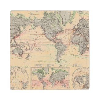 World Map of Ocean Currents Wood Coaster