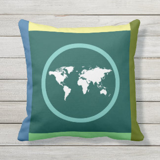 world map on geometric outdoor cushion