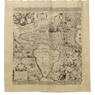 World Map Sea Serpents Sepia Shower Curtain