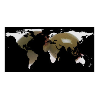 World Map Silhouette - Martini Olives Poster