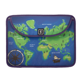 World Map Sleeve For MacBooks