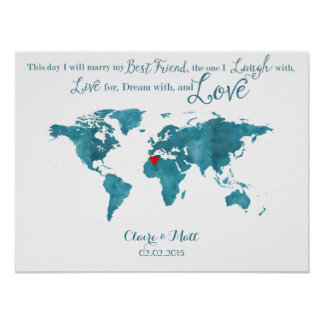 world map wedding guest book signing board teal poster