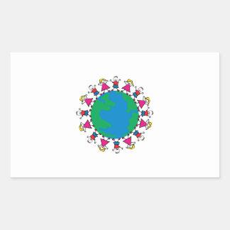 World Peace Children Rectangular Stickers