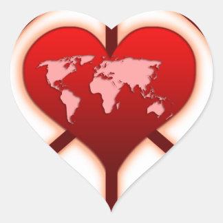 World Peace Heart Sticker