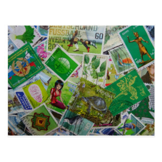 World Stamps (green) Postcard