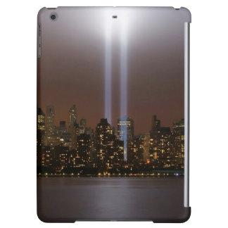 World trade center tribute in light in New York.