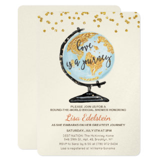 World Travel Bridal Shower Invitation