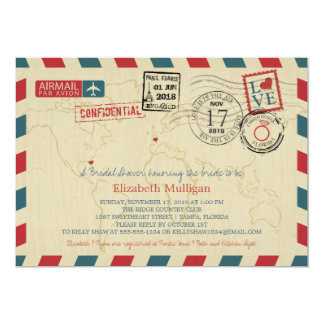 World Traveler Airmail | Bridal Shower 5x7 Paper Invitation Card