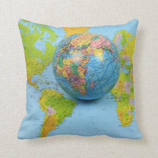 "World Traveler Polyester Throw Pillow 16"" x 16"""