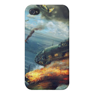 World War 2 bomber in Flames iPhone 4 Cases