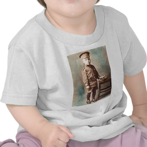 World War I Boy and Toy Cannon Hand Tinted Tees