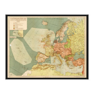 World War I German Submarine (U-Boat) Map (1918) Canvas Print
