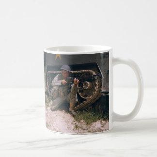 World War II Soldier Kneeling with Garand Rifle Coffee Mug