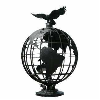 world with eagle standing photo sculpture