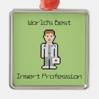 World's Best Custom Text Doctor Silver-Colored Square Decoration