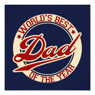 "World's Best Dad 5.25"" Square Invitation Card"