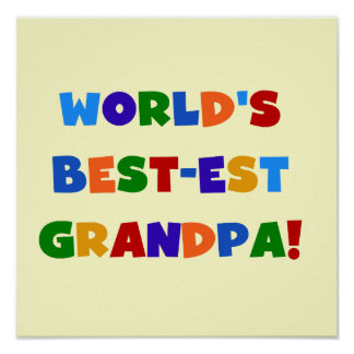 World's Best-est Grandpa Bright Colors Gifts Print