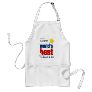 Worlds Best Husband and DAD with RED BLUE Text 3D Standard Apron