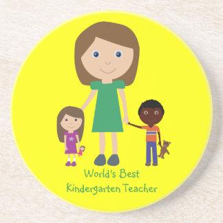 World's Best Kindergarten Teacher Cute Cartoon Drink Coasters