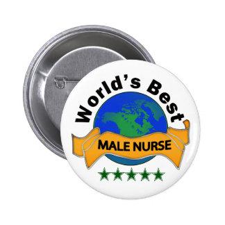World's Best Male Nurse 6 Cm Round Badge