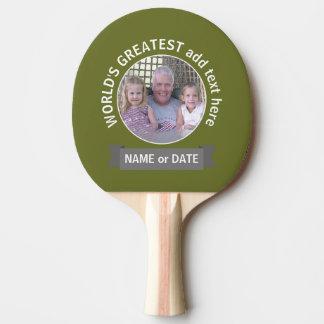 World's Greatest Dad Grandpa Custom Photo Template Ping Pong Paddle