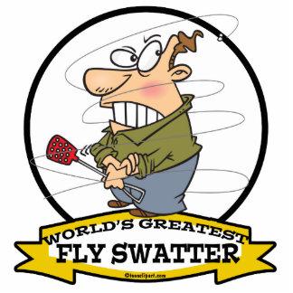 WORLDS GREATEST FLY SWATTER MEN CARTOON STANDING PHOTO SCULPTURE