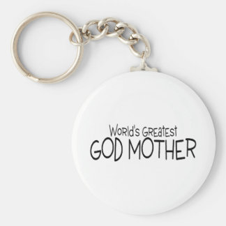 Worlds Greatest God Mother Basic Round Button Key Ring