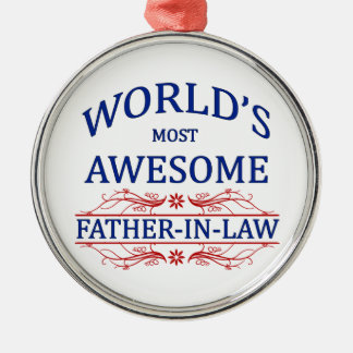 World's Most Awesome Father-In-Law Silver-Colored Round Decoration