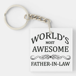 World's Most Awesome Father-In-Law Single-Sided Square Acrylic Key Ring
