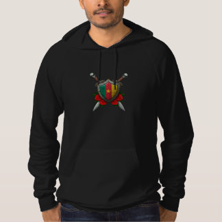 Worn Cameroon Flag Shield and Swords with Roses Hoodie