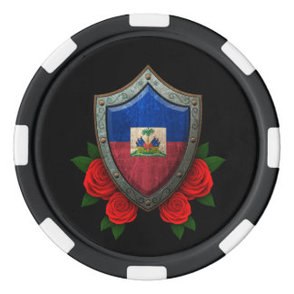 Worn Haitian Flag Shield with Red Roses Poker Chips