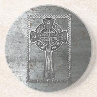 Worn Metal Cross Coaster