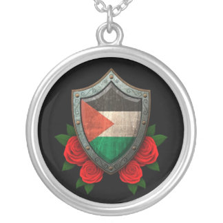Worn Palestinian Flag Shield with Red Roses Silver Plated Necklace