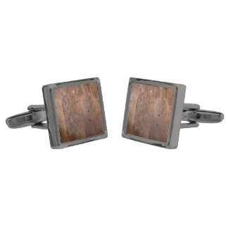 Worn pine board gunmetal finish cufflinks