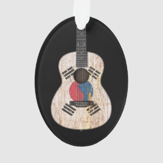 Worn South Korean Flag Acoustic Guitar, black Ornament