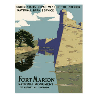 WPA Vintage Travel Poster Fort Marion Florida Postcard
