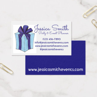 Wrapped Present Gift Party Event Planner Planning Business Card