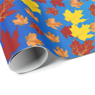 Wrapping Paper Colored from fall leaves over blue
