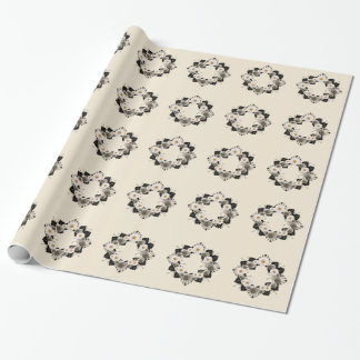 """Wreath """"Black Leaf"""" Gray Flowers Wrapping Paper"""