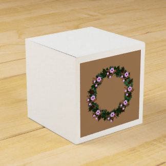"Wreath ""Brown Twig"" Brown Flowers Favor Box Party Favour Box"