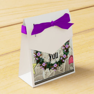 "Wreath ""Brown Twig"" Purple Flowers Favor Box Party Favour Box"