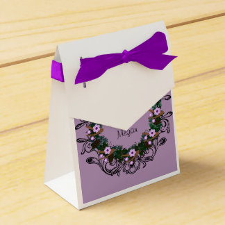 "Wreath ""Brown Twig"" Purple Flowers Favor Box Wedding Favour Box"