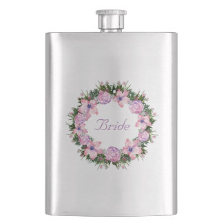 Wreath Dolly Peppermint Flowers Floral Vector Pink Hip Flask