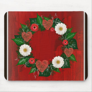 """Wreath """"Doodly Hearts"""" Red/White Flowers Mouse Pad"""
