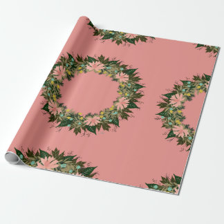 """Wreath """"Enjoy"""" Flowers Floral Leaf Wrapping Paper"""