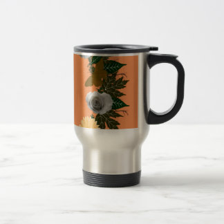 """Wreath """"Gold Butterfly"""" Flowers Floral Travel Mug"""