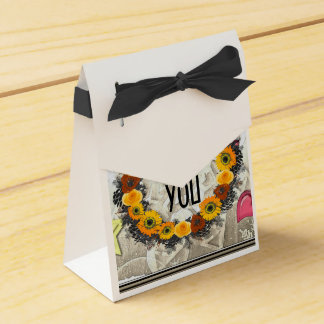"Wreath ""Golden Orange"" Orange Flowers Favor Box Favour Box"