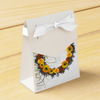 "Wreath ""Golden Orange"" Orange Flowers Favor Box Wedding Favour Box"