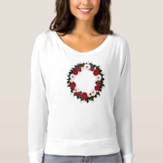 "Wreath ""Lady Bug"" Red/White Flowers T-Shirt"