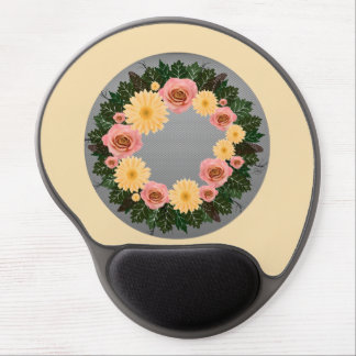 """Wreath """"Old Fashion"""" Peach/Pink Flowers Mouse Pad"""